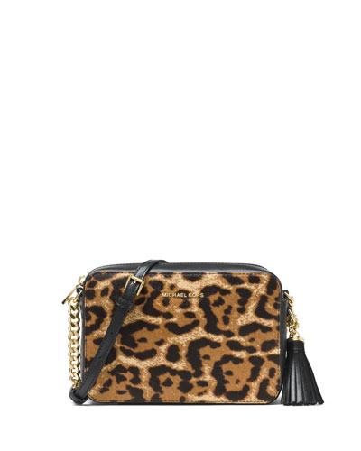 Michael Michael Kors Ginny Medium Leopard - print Calf Hair Camera Bag
