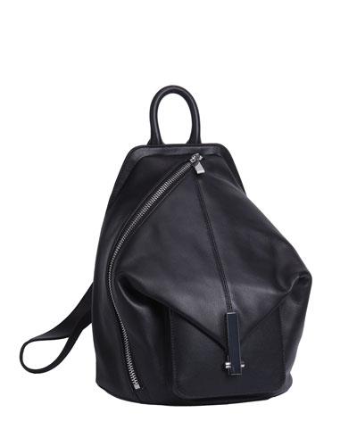 Koenji Leather Asymmetric Backpack, Black