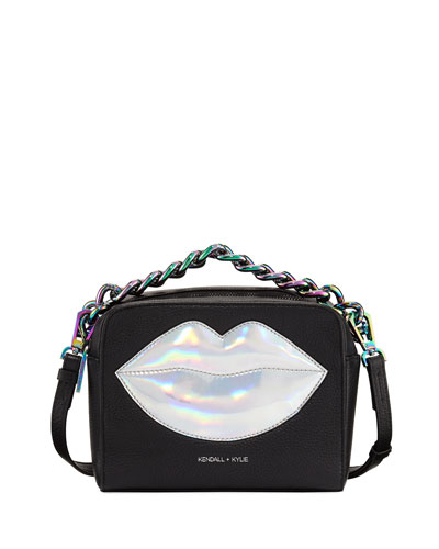 Lucy Lips Crossbody Bag, Black/Silver