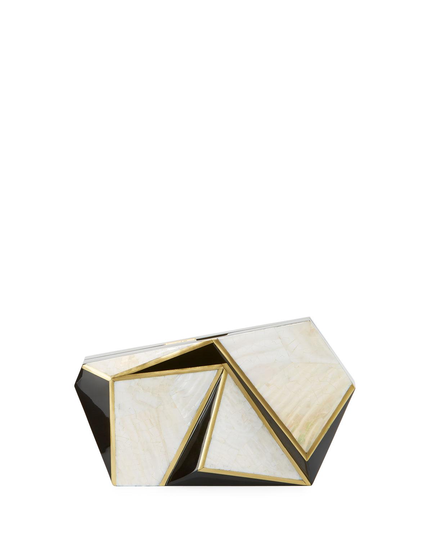 Azura Asymmetric Minaudiere, White/Black