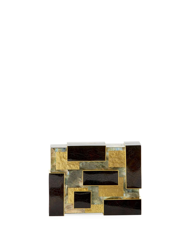 Ramya Cubist Minaudiere, Black/Gold