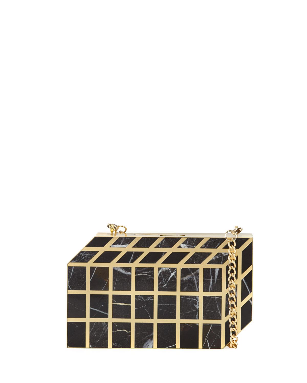 Pia Geometric Shell Minaudiere, Black/Gold
