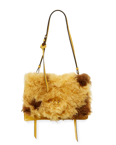 Large Shearling Fur Flap Shoulder Bag