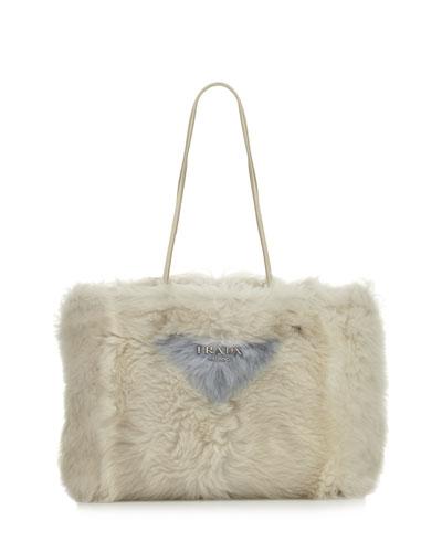 Large Shearling Fur Shoulder Tote Bag