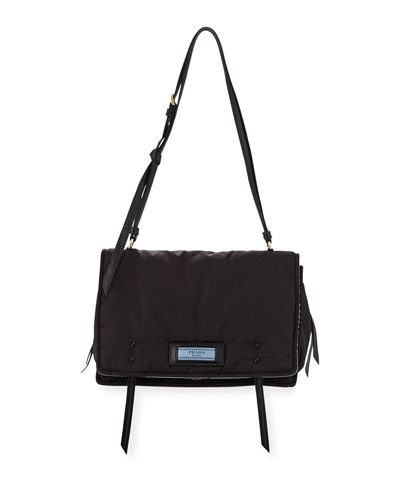 Etiquette Large Nylon Flap Crossbody Bag