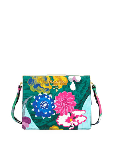 Soft Frame Flora-Print Leather Crossbody Bag