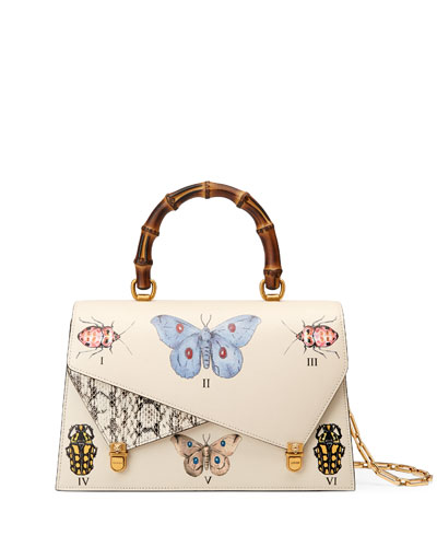 Medium Linea P Butterfly Painted Leather & Genuine Snakeskin Top Handle Satchel - White