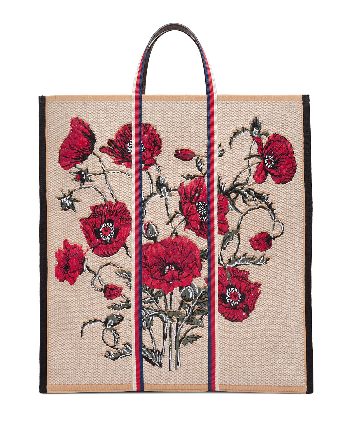 Floral-Embroidered Woven Tote Bag