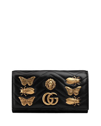 Flap Continental Wallet with Insects