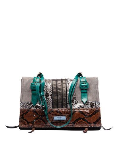 Etiquette Patchwork Large Python Shoulder Bag