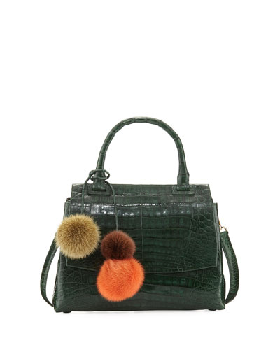 Sophie Small Crocodile Pompom Satchel Bag