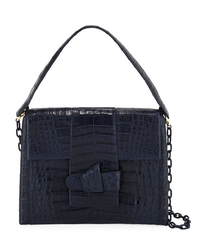 Medium Origami Knot Crocodile Shoulder Bag