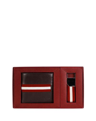 Wallet & Key Ring Gift Set, Chocolate