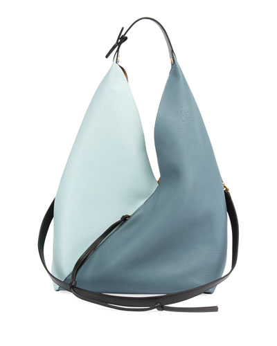 Colorblock Sling Grain Bucket Bag
