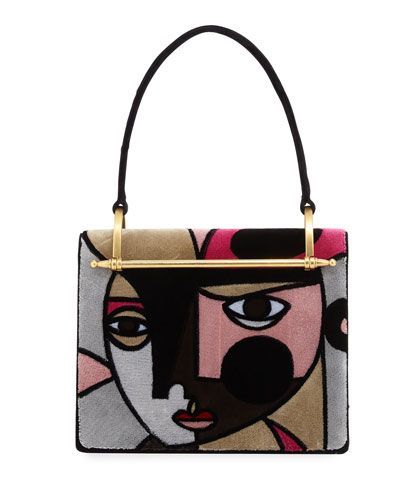 Cubist Print Velvet Shoulder Bag
