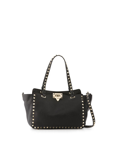 Rockstud Grain Small Tote Bag, Black
