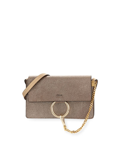 Faye Small Metallic Leather Shoulder Bag