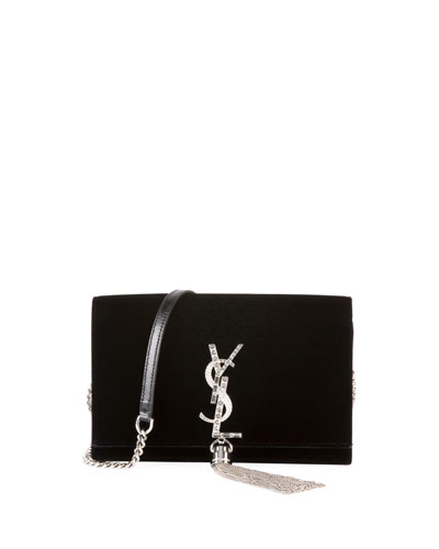 Kate Toy Small Crystal-Monogram Tassel Velvet Wallet on a Chain Bag - ...