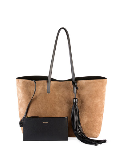 Medium East-West Suede Tote Bag w/ Tassel