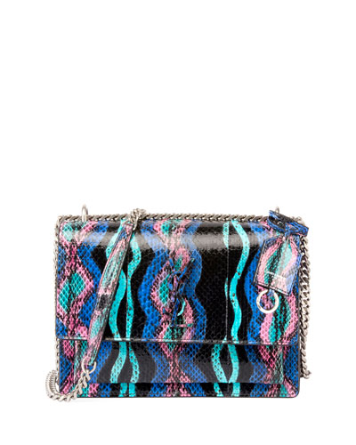 Sunset Medium Curvy Striped Snakeskin Crossbody Bag