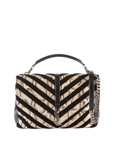 College Large Python  Chevron Shoulder Bag