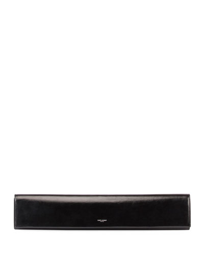 Fetiche Exaggerated East-West Leather Clutch Bag in Black