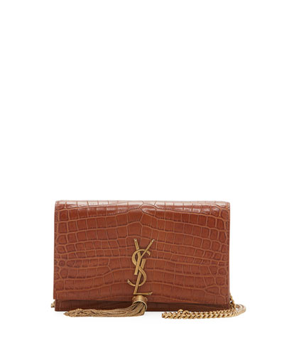 Kate Crocodile-Embossed Small Tassel Wallet on Chain