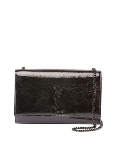 Kate Medium Monogram Crinkle Patent Chain Crossbody Bag