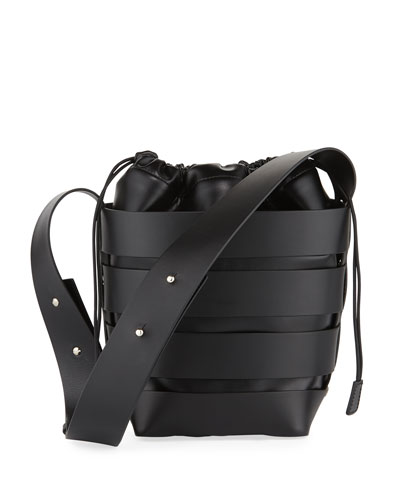 Cage Small Calfskin Hobo Bag, Black