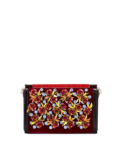 Vanite Rose-Embellished Velvet Clutch Bag