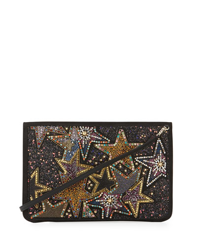 Loubiclutch  Star Beaded Clutch Bag