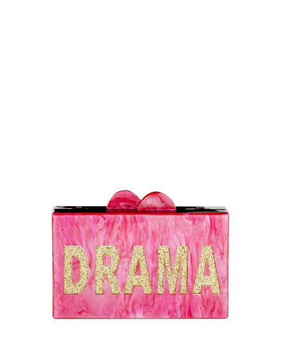 Girls' Drama/Queen Glittered Acrylic Box Clutch Bag