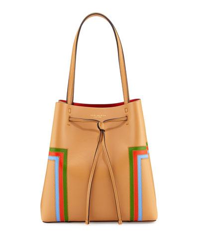 Block-T Striped Drawstring Tote Bag