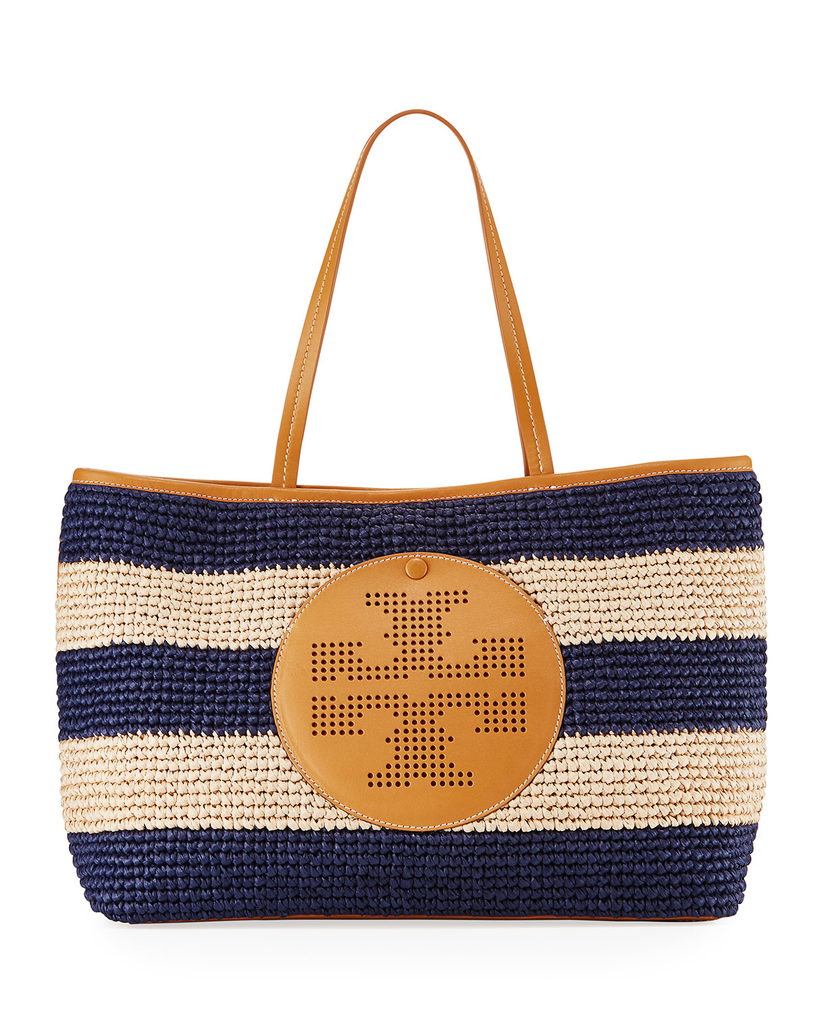 Straw Perforated Logo Tote Bag