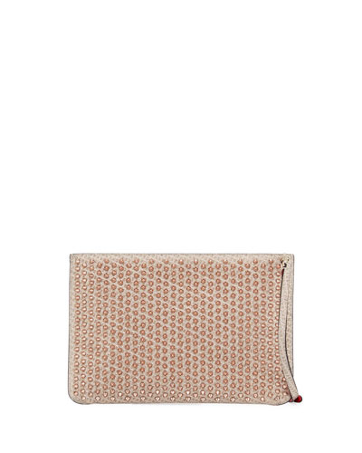 Quadro Spike Zip Crossbody Clutch Bag, Nude