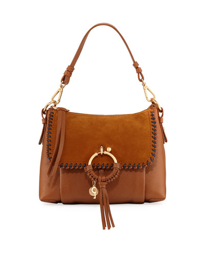 Medium Whipstitch Suede & Leather Shoulder Bag