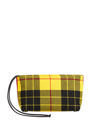 Check-Print Zip Clutch Bag