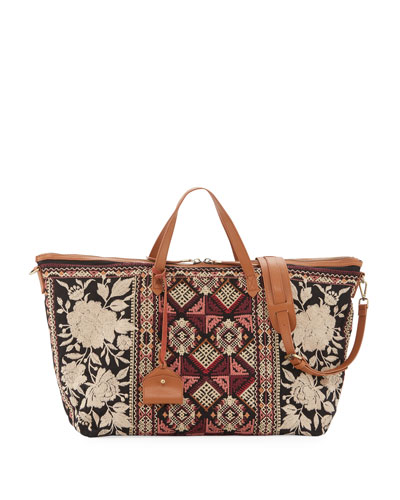 Embroidered Canvas Weekend Bag