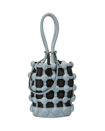 Roxy Denim Caged Mini Small Bucket Bag