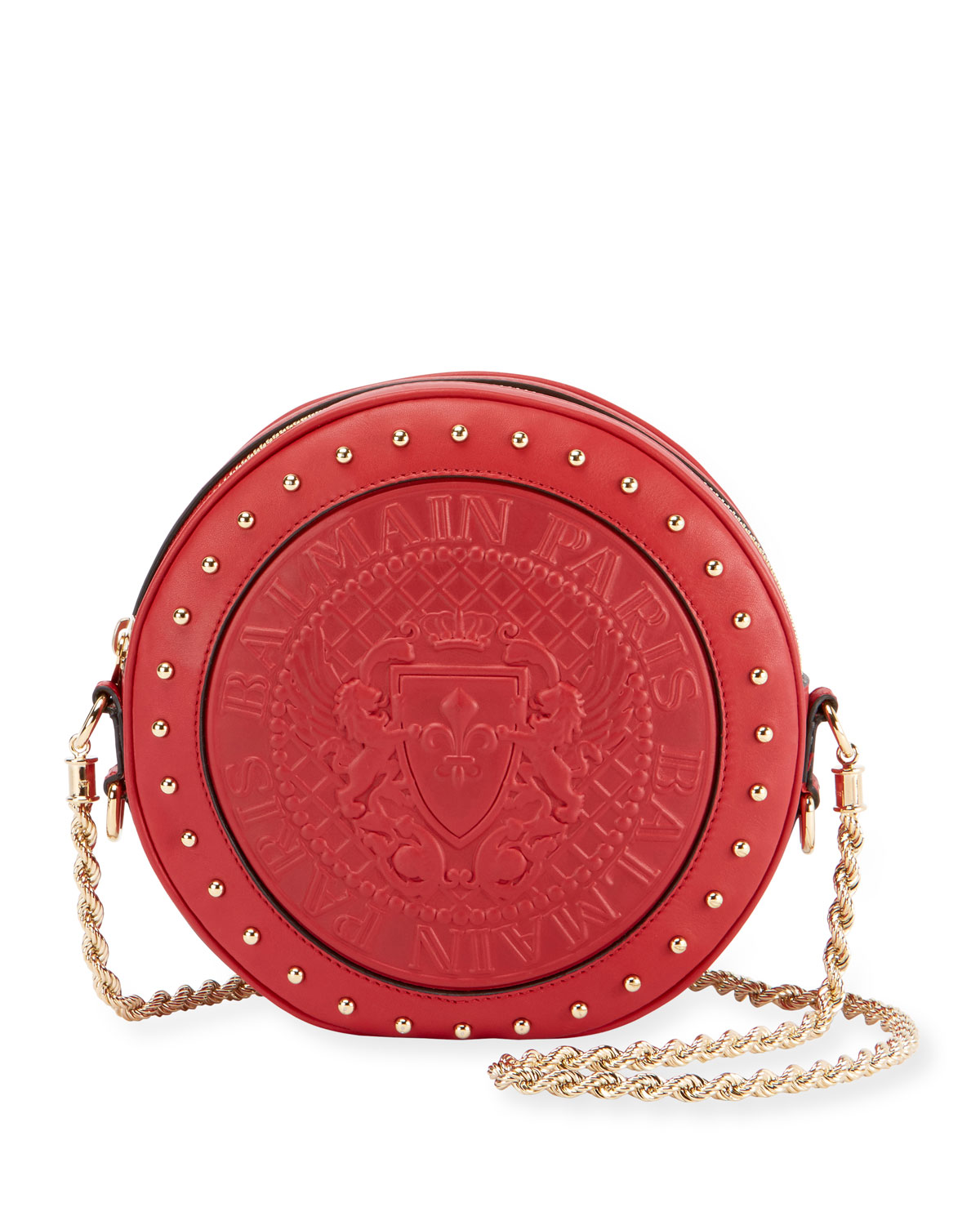 Embossed Leather Circle Crossbody Bag