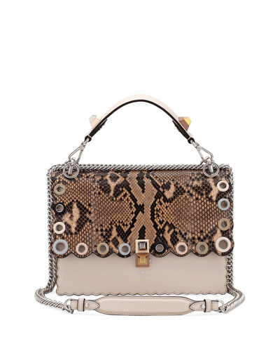 34a5bb7424 Fendi Small Kan I Genuine Python   Calfskin Shoulder Bag - Beige In  Camelia  Makeup