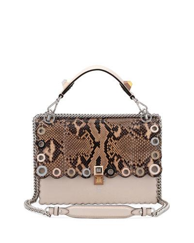 Small Kan I Genuine Python & Calfskin Shoulder Bag - Beige in Camelia/ Makeup/ Python