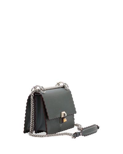 Kan I Small Leather Scalloped Shoulder Bag