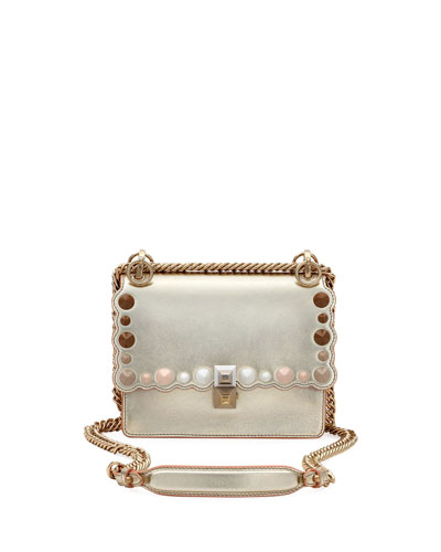 Kan I Mini Scalloped Studded Chain Shoulder Bag