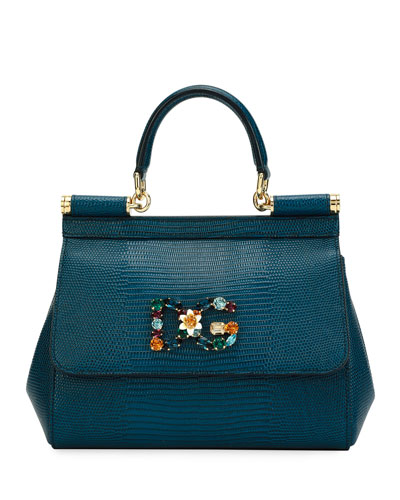 Sicily Small Stampa Iguana Top-Handle Bag