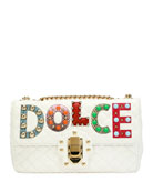 Lucia Dolce Patch Napa Leather Shoulder Bag