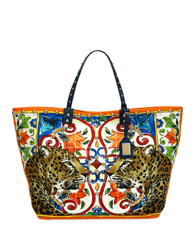 Beatrice Leopard/Maiolica Printed Canvas Tote Bag