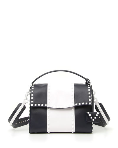 Free Rockstud Colorblock Leather Satchel Bag