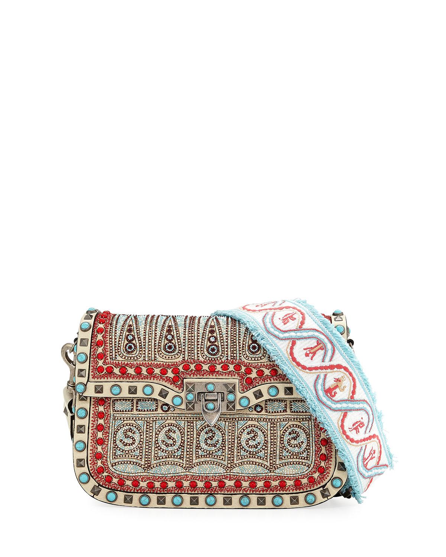 Guitar Rockstud Rolling Medium Embroidered Shoulder Bag