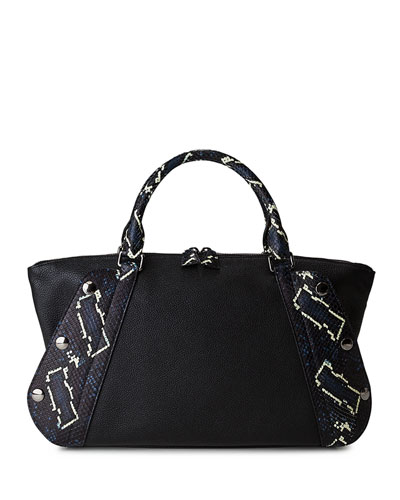 Aimee Small Convertible Leather/Python Satchel Bag